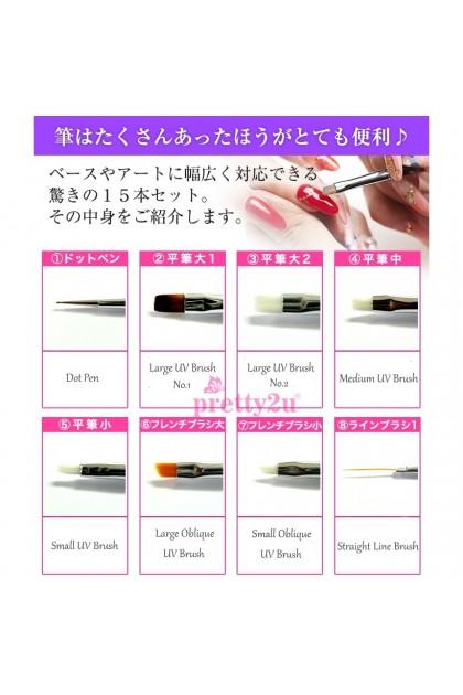 15PCS Nail Art Brush Full Set Nail Painting Drawing Set 15支美甲套装笔刷