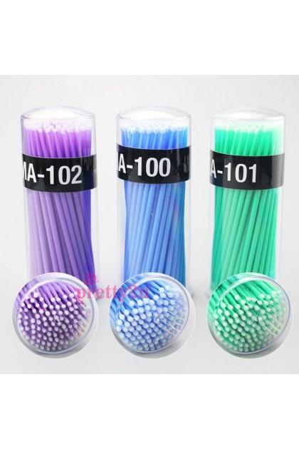 100PCS Disposable Micro Brushes Swabs Eyelash Extensions False Eyelash Wands Makeup Tools Eyelash Kit 嫁接睫毛清洁棒 100支