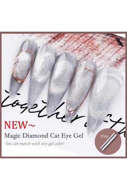 Pretty2u 9D Magic Diamond Cat Eye Gel Polish With Magnet Stick