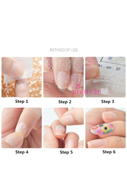 Nail Art Double Side Tape Invisible Transparent Nail Tips Self Adhesive Sticker 2 Sheet For Stick Nail Tips 美甲贴 双面胶 隐形胶贴